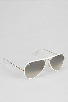 Ray-Ban Original Gold Lens White Aviator Sunglasses Info