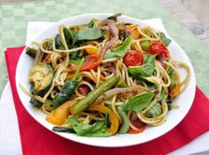 Roasted Veggie Spaghetti with Balsamic & Basil