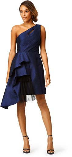 ML Monique Lhuillier Navy Stream Dress