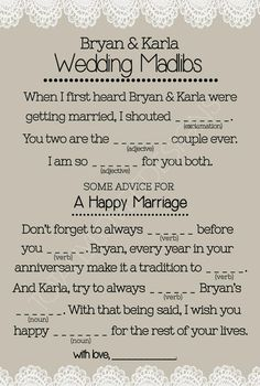 For Nikki & Chris' rehearsal Dinner!--Wedding Mad Libs #WEDDINGMADLIBS #WEDDING #DIYWEDDING