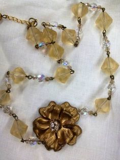 Bronze and Glass Champagne Beads Necklace Upcycled from Vintage Jewelry