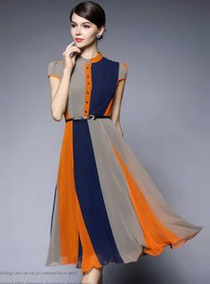 Vintage Floral-Color Slim Maxi Dress