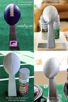 5 Fantastic Super Bowl Party DIYs - created by v. - 5 Fantastic Super Bowl Party DIYs – created by v. Football Centerpieces, Football Party Decorations, Football Themes, Football Boys, Football Decor, Football Party Games, Flag Football Party, Kids Football Parties, Football Season