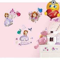 Delight your little one with these charming #Sofia the First wall #decals. Any little girl who dreams of becoming a real life princess will love reliving Sofia's ...