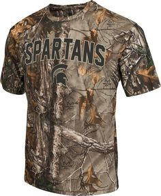 Michigan State Spartans Colosseum Realtree Trail Short Sleeve Tee. This Michigan State t-shirt is made of 100% Polyester to ensure that perfect fit and athletic feel. The shirt features the latest Rea