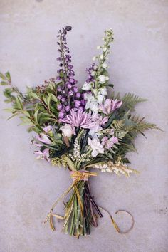 Purple bridal bouquet.