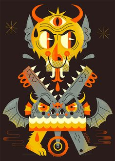 Also known as Niark1, this Paris-based designer and illustrator is making a name for himself, thanks to the colorful creatures in his rapidly-expanding menagerie. You'll find more examples of his work on his site.