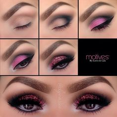"""@elymarino-Motives cosmetics: 1.Start by applying """"Cappuccino"""" in and above the crease 2.Apply """"Onyx"""" shadow in the outer """"V"""" and in the crease 3.Apply """"If You Dare"""" mineral shadow over the entire lid!Line your eyes with """"Little black dress gel liner"""" 4.Using """"Angel"""" eye Khol eyeliner line the water line! Apply """"Onyx"""" shadow underneath the lower lash line. To brighten the inner corner apply """"Marshmallow"""" mineral shadow 5.Apply glitter glue over the  lid and apply """"Jewel Pink"""" glitter over…"""