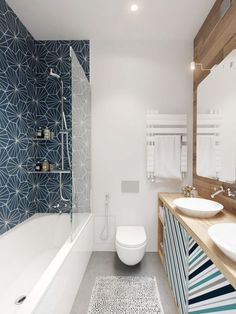 Широкая столешница вдоль всей стены визуально вытянет маленькую комнату, а большое зеркало довершит этот эффект
