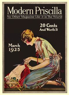 The lovely sewing themed cover of Modern Priscilla magazine, march 1925. #vintage #1920s #sewing