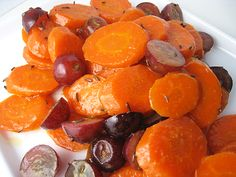 Carrots with Caraway and Grapes/sub Earth Balance to make vegan