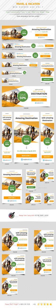Travel Agency Ads Template #design #ads Download: http://graphicriver.net/item/travel-agency-ads-vol7/12331314?ref=ksioks