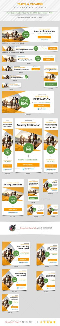 Travel Agency Ads Template #design #ads Download: http://graphicriver.net/item/travel-agency-ads-vol7/12331314?ref=ksioks