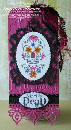 Day of the Dead handmade Tag with sugar skull