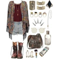 Summer outfit. Cutoff shorts, printed cardigan, leather combat boots, leather satchel, plus jewellery.