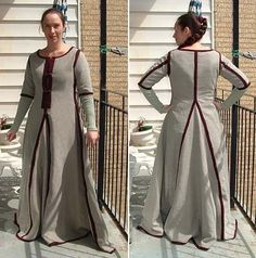 TUTORIAL! Marie-Chantal Cadieux's method of sewing 15th c. kirtle (front-laced & no waist seam w/flat-felled seams. The gown being worn inside out.