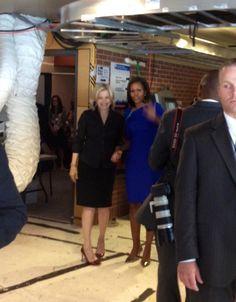 Michelle Obama and Diane Sawyer outside the World News ABC studio.