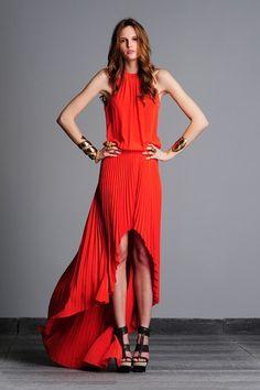 ALEXIS Annelot Halter Pleated Hi-Lo Coral Dress