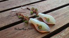 Dangle Opalite calla lily and genuine Peridot earrings, copper earrings