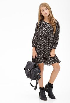 Ditsy Floral Ruffled Dress (Kids)   FOREVER21 girls   #f21kids