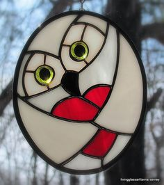 Snowy love owl stained glass