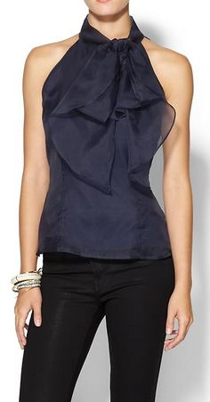 Gorgeous organza top with bow detail http://rstyle.me/n/u9cmvnyg6