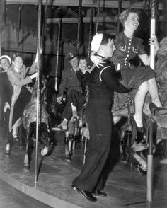 c. 1940s: Sailors at Coney Island