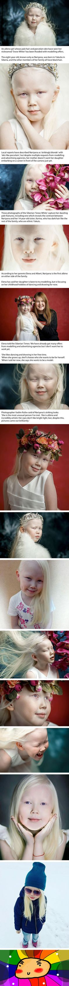 The Siberian 'Snow White': Albino girl, 8, with striking pale hair and porcelain skin is flooded with offers from modelling agencies.