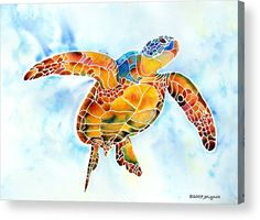 Sea Turtle Acrylic Print featuring the painting Sea Turtle Gentle Giant by Jo Lynch