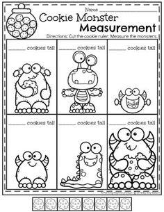 Cookie Monster Measurement - Kindergarten Math Worksheets for Spring #kindergartenmath #measurement #mathworksheets #kindergartenworksheets #measurementworksheets