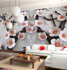 3D Mural Wallpaper Cherry Blossom Embossed Flower Wall Background Custom Size #Unbranded #Modernism