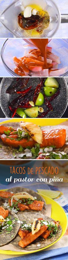 Si te gustan los tacos al pastor. no te puedes quedar sin probar esta receta mexicana de tacos de pescado al pastor adobados con piña.