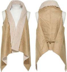 Amazon.com: JOUJOU Suedette & Faux Shearling Draped Vest [364-545], Camel: Clothing