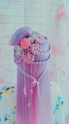 Prom Hairstyles For Long Hair, Pretty Hairstyles, Wig Hairstyles, Creative Hair Color, Kawaii Hairstyles, Hair Upstyles, Hair Sketch, Cosplay Hair, Hair Dye Colors