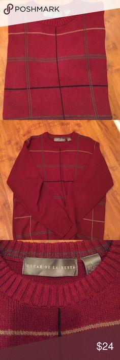 Oscar De La Renta sweater Oscar De La Renta sweater. Burgundy signature double striped sweater. Still in excellent new condition. No pulls or holes. Size large Oscar de la Renta Sweaters