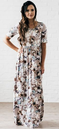 Madison Maxi Dress (Taupe Floral)