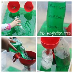 Exploring Capacity with Colored Water - The Imagination Tree. Fill the bottle up to certain amounts that are marked on the bottle itself. Have several different kinds of bottles for experimentation and comparison. Capacity Activities, Measurement Activities, Math Measurement, Teaching Science, Kindergarten Activities, Science Activities, Classroom Activities, Maths Eyfs, Numeracy