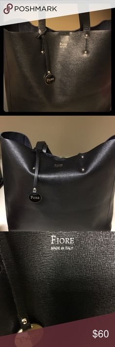 Black Leather Tote bag Black Fiore tote uses a few times in good condition Isabella Fiore Bags Totes
