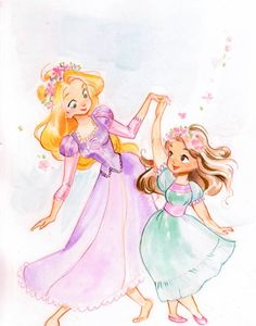 Love this Disney print of Rapunzel and her daughter! Disney Rapunzel, Princess Rapunzel, Tangled Rapunzel, Arte Disney, Disney Fan Art, Disney Magic, Rapunzel Sketch, Disney Princess Art, Disney Dream