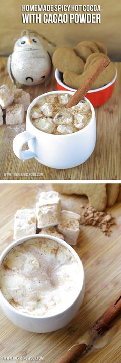 Homemade Spicy Hot Cocoa with Cacao Powder - Here's a delicious & healthy hot cocoa recipe you can feel good about drinking! Decadent Chocolate, Homemade Chocolate, Chocolate Flavors, Hot Chocolate, Hot Cocoa Recipe, Cocoa Recipes, Organic Cacao Powder, Baking Soda Uses, Real Food Recipes