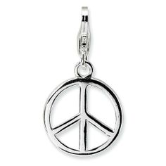 Sterling Silver Small Polished Peace Sign w/Lobster Claw Clasp Clasp Charm Real Goldia Designer Perfect Jewelry Gift goldia. $14.19