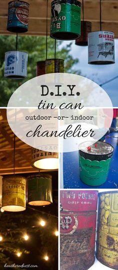 AMAZING DIY! Outdoor (or indoor) tin can chandelier/pendant light! Tutorial from http://heatherednest.com