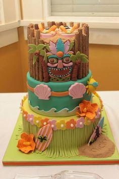 aloha party Birthday luau cake for a dear friend. - cake for surprise luau birthday party.for my friend nicky Aloha Party, Hawai Party, Hawaiian Luau Party, Party Fiesta, Hawaiian Birthday, Tiki Party, Hawaiian Cakes, Hawaiian Theme, Beach Party