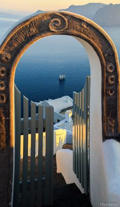 Gate to the Aegean, Oia, Santorini In my top 3 of most beautiful places in the world. Thanks to photographer noted on picture. Mykonos, Oia Santorini, Santorini Island, Dream Vacations, Vacation Spots, Places To Travel, Places To See, Winding Road, Greece Travel