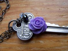 Antique Silver Romantic Dreams Key Necklace by autumnraincreations, $30.00