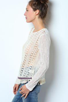 Henley Pullover in Natural Ivory