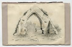 """This is a pencil sketch artwork of a ruined Archway.  It is signed on the lower right side """"Adolf Hitler""""."""
