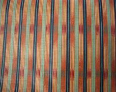 Striped Drapery Fabric Orange, Green, upholstery, Streamline, Osborne & Little