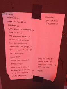 Here's a fun game: Guess the bands from their backstage set lists.