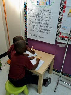 Poetry Station: Students can copy the large poem displayed, copy a poem from the poetry binder, highlight rhyming words, illustrate the poem they copied, and read poems.